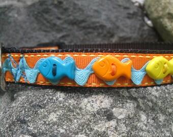 Fish Dog Collar, Orange dog collar, Small Dog Collar, Colorful Collar, Cute Dog Collar, dog collar for girl, dog collar for boy