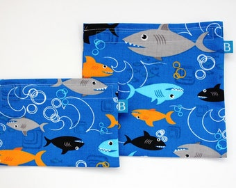 Reuseable Eco-Friendly Set of Snack and Sandwich Bags in Sharks Fabric