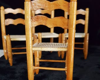 Dollhouse Miniature Chairs ~ Set of 4