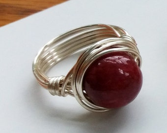 Dyed Agate Dark Red Wire Wrapped Ring - handmade