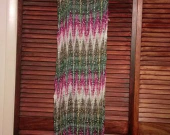 "Vintage Indian made Boho style scarf 64""x18"""