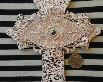 Evil Eye-Scrumptious Pink Macaroon Evil Eye Cross-Marie Antionette Victorian Style Lace Crucifix