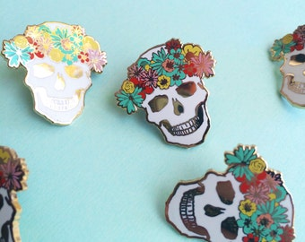 valentines day pin floral skull enamel pin hard enamel pin colorful brooch valentine gift for her flair lapel pin cloisonné gold metal skull