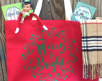 Merry and Bright Tote Bag - Merry & Bright Tote - Reusable Bag - Southern Girls Collection design - Gift Tote - Holiday Tote Bag