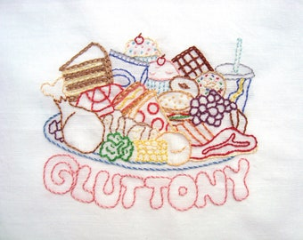 Gluttony Food Plate Hand Embroidery Pattern PDF: Seven Deadly Sins Collection