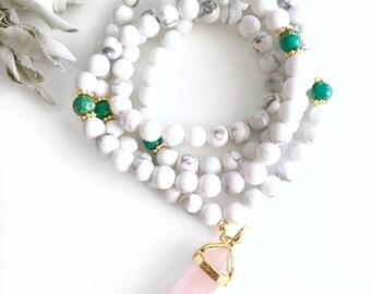 Howlite Mala, Healing Crystal Jewelry, Mala Necklace, Mala, Prayer Beads, Rose Quartz Mala, Mala Beads, 108 Mala Beads, Yoga Necklace, MHGJ