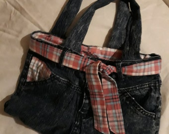Denim upcycled handbag