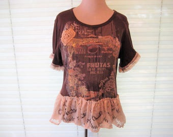 Brown t-shirt, upcycled summer lace top, boho top, bohemian gypsy clothes, refashioned shirt, size medium, repurposed clothes