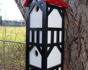Bird house, double nesting box, Stratford Tudor style 1, signature roof design, EZ clean, western red cedar, fully functional, US made,