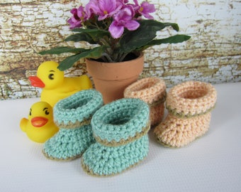 Baby Booties, Crochet Baby booties, Mint Green Peach Newborn to 9 month booties, 0-3 month, 3-6 month, 6-9 minth, 9-12minth, boy girl