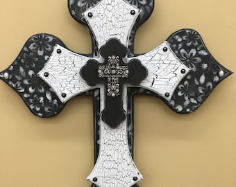 Wooden Cross 3 layers, Black and White with Rhinestone Cross Center