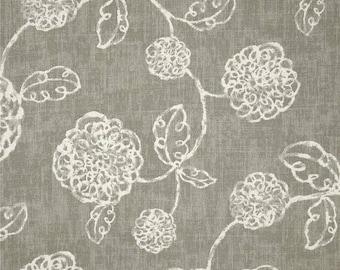 Faux Roman shade, lined valance, Magnolia adele, slate grey, ivory fake Roman shade, pleated valance