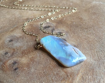 Raw Opal Necklace - Opal Necklace - Opal Jewelry - Raw Opal - Opal - Raw Stone Necklace - October Birthstone - Gift for Mom