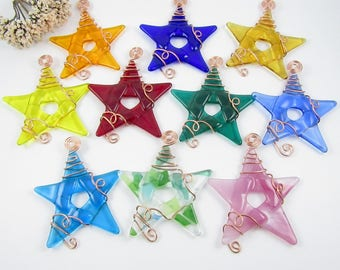 Glass Star Suncatchers - Ten Fused Glass Star Ornaments - Colorful Glass Star Ornaments - Pick your colors - Handmade Glass Stars