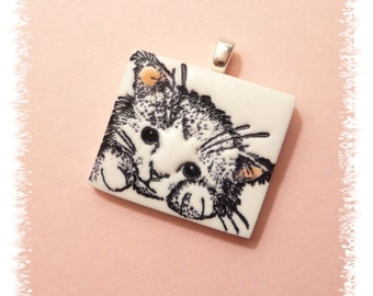 Cute Cat Pendant or Necklace, Cat Jewelry, Kitty Face Charm, Cat Lover Gift, pink white black, handmade polymer clay pet jewelry