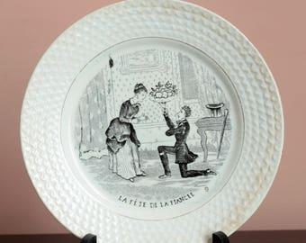 Antique plate wedding. Engagement, Fiancée. Faience Jemappes Belgium. Transferware