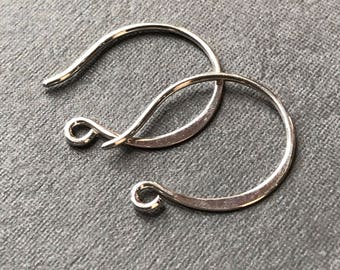 Solid Sterling Silver ear wires - simple design 18mm X 15mm