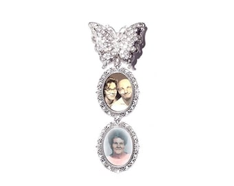 Double Photo Charm Memorial Wedding Brooch 3D Butterfly Silver Photo Charm Clear Crystals Gems - Free Shipping
