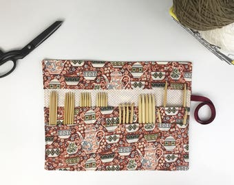 Knitting Needle Case, Craft Storage, DPN Roll, Crochet Hook Case, Knitting Needle Organizer, Pencil Roll, Teacup Cotton, Tea Cups in Red