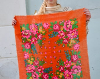 Floral orange shawl, Vintage women scarf, Russian Floral Scarf, Ukrainian folk Shawl, boho rustic scarf, festival headscarf