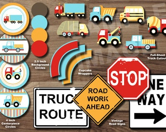 TRUCK Party Package - Transportation Party Package - Construction Birthday Party PRINTABLE INSTANT Boy - Dump Truck Garbage Truck Tow Truck