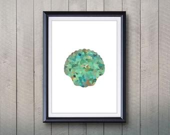 Green Seashell Print - Home Living - Seashell Ocean Animal Painting - Wall Art - Wall Decor - Home Decor, House Warming Gifts