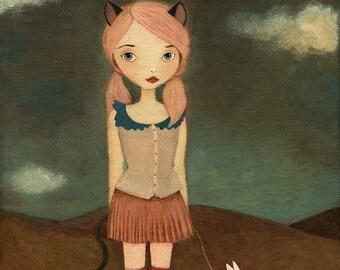 Cheshire Cat Print 8 x 10 - Alice im Wunderland Kunstdruck, Mädchen Kunstdruck, Poster, Kunst, Mädchen Zimmer Kunst, niedlich, skurrilen Mädchen