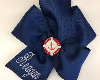 Monogram Name, Anchor Hair Bow, Beach Bows, Custom Boutique, Cruise Wear, Girls Large, Nautical Beachy, Kids Embroidered, Monogrammed, Big