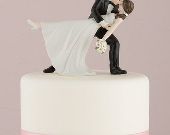 A Romantic Dip Funny Wedding Cake Topper Choose Hair Color