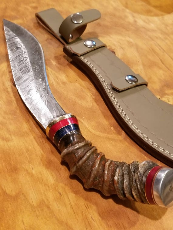 Handmade Sheep Horn Handle Hunting Knife Damascus Blade Collection With Leather Sheath Premium Bowie Epic (A258)