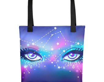 Goddess Galaxy Eyes Tote bag - Handbag, carry all, purse