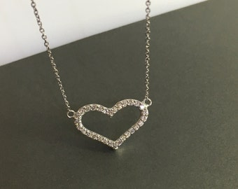 Heart 14k diamond pendant