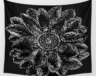 Black White Flower Wall Tapestry, flower wall tapestry, black white tapestry, black floral tapestry, modern wall tapestry
