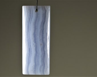 Blue Lace Chalcedony Agate Rectangle Pendant - 54mm x 21mm x 5.8mm - B9415