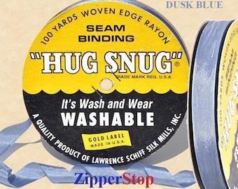 "DUSK BLUE 822 - Hug Snug Seam Binding - 100 yard roll 1/2"" Wide - 100% Woven-Edge Rayon - Sewing Trim & Craft Supply"