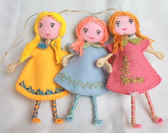 Handmade Felt Doll, Art Doll Back to School Girl Hanging Ornament