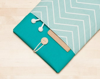 Surface Pro Case, Microsoft Surface sleeve, Surface Laptop Cover, Surface 3 Case, padded with pockets - chevron teal