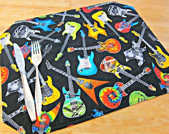 Quilted Placemats, Guitar Placemats, Guitar Decor, Black Placemats, Music Placemats, Music Decor, Guitar Player Gift, Guitars, Man Cave