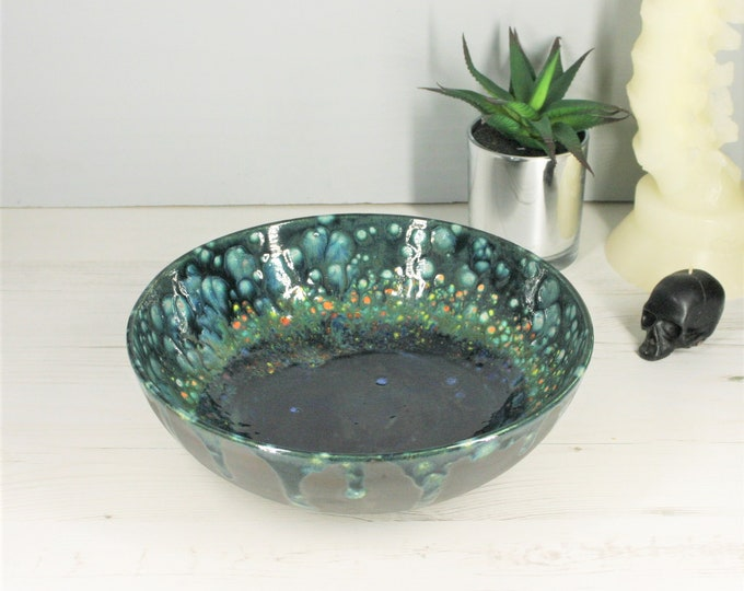 Special Crystal Glaze, Fruit Bowl, Unique Large Salad Dish, Pasta serving bowl, housewarming gift, bespoke Kitchen storage, Weird Wonderful