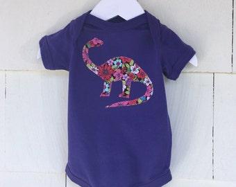 Floral Dinosaur Onesie Tee | Paleontologist | Dino Girls Clothing | Dinosaur Birthday Party | Stem Nerd | Baby Gift |