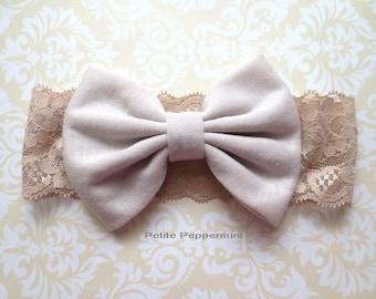 Cream baby headband, baby hair bow, newborn headband, baby headband bow, baby head band lace, infant headband, toddler headband, head wrap