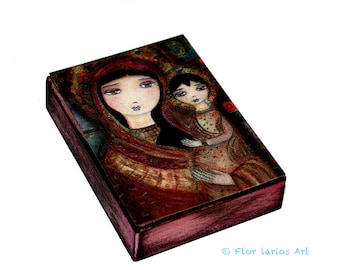 Mother  of Tenderness - Aceo Giclee print mounted on Wood (2.5 x 3.5 inches) Folk Art  by FLOR LARIOS