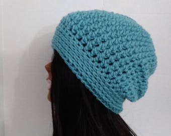 Blue Slouchy Beanie Hat, Blue Slouchy, Blue Beanie,Womens Slouchy Hat, Winter Beanie Hat, Womens Accessories