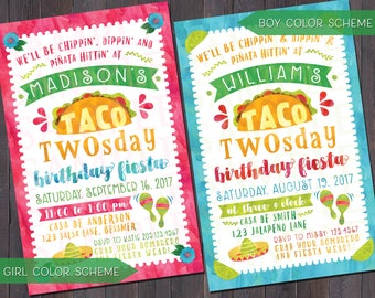 Taco Twosday Fiesta Birthday Invitation, Thank You Note, and/or Favor Tag DIGITAL FILE
