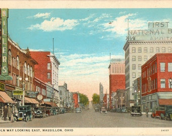 Linen Postcard, Massillon, Ohio, Lincoln Way Looking East, 1936