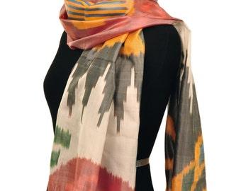 Color Melange Ikat Silk Scarf - Sc28 (6018)