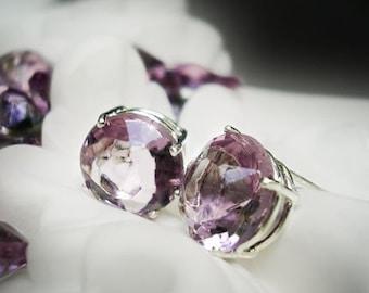 Pale Amethyst Vintage Glass Earrings