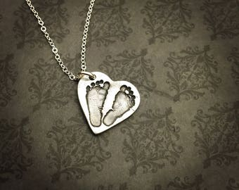 Actual Baby Footprint Necklace - Baby Handprint Necklace - Actual Handprint - Actual Footprint Jewelry - In memory of Jewelry -baby loss