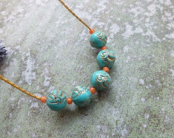 Turquoise Necklace Turquoise and Gold Necklace Statement Necklace Vintage style necklace Beaded necklace
