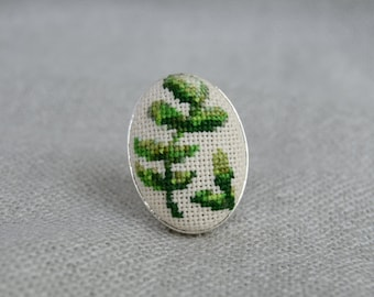 Green branch ring Cross stitch ring Embroidered jewelry Unique branch Handmade ring Green branch Green nature jewelry Oval ring